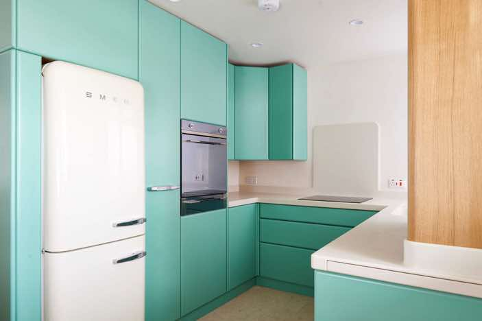 Retro style Bespoke Kitchen, Brighton, West Sussex Designed and Made By Mark Heeler