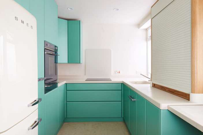 Retro style Bespoke Corian® Kitchen, Brighton, West Sussex Designed and Made By Mark Heeler