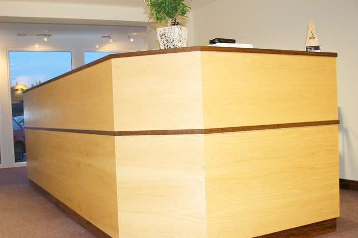 Commercial bespoke furniture<br/>Bespoke Reception desk Designed and made by Mark Heeler in Hurstpierpoint