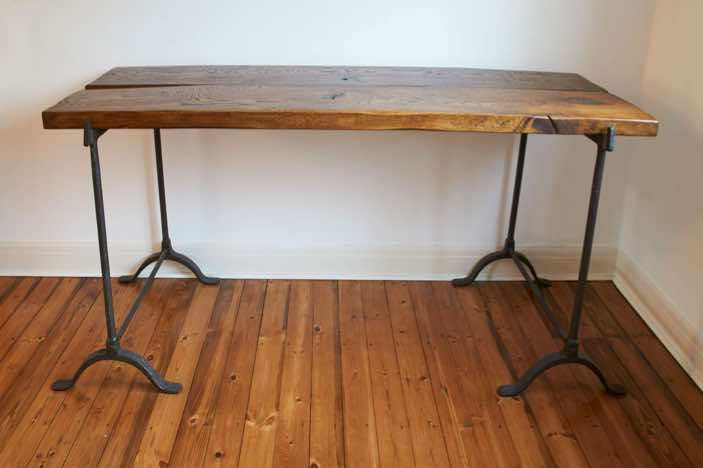Vintage Trestle table with solid brown oak top