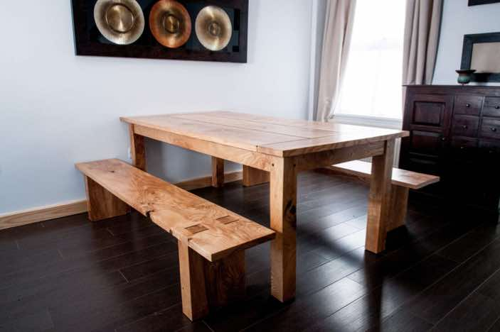 Soile Olive Ash dining table with Wenge inlay and matching benches made for a client in Hurstpierpoint west sussex